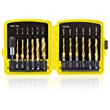 TOPEC Tap Bit Set, 3-in-1 HSS Titanium Coated Drill Tap Combination for Titanium Coated Drill Tap Combination, 13 PCS SAE/Metric threading tap drill bit set with 1/4 Inch Hex Shank, and Quick-Change Adapter