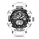 KXAITO Men's Watches Sports Outdoor Waterproof Military Watch Date Multi Function Tactics LED Alarm Stopwatch (8045_White)