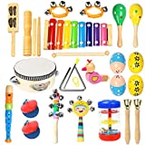 Ehome Toddler Musical Instruments, Wooden Percussion Instruments Educational Preschool Toy for Kids Baby Instrument Musical Toys Set for Boys and Girls with Storage Bag
