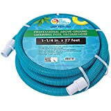 U.S. Pool Supply 1-1/4' x 27 Foot Professional Above Ground Swimming Pool Vacuum Hose with Swivel Cuff - Removable Cuff, Cut to Fit - Compatible with Filter Pumps, Filtration Systems, Chlorinators