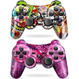 Puning 2Pack Wireless Controller for PS3 Controller, Wireless Controller with Upgraded Joystick Compatible with Playstation 3(Sky and Art)