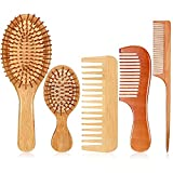 5 Pieces Wooden Comb and Brush Set Include Wide Tooth Comb Hair Comb Wood Detangling Comb Natural Rat Tail Comb and 2 Bamboo Paddle Hair Brushes 2 Sizes for Curly Dry Wet Hair