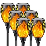 【Upgraded 6-Pack Super Larger Size Solar Flame Torch】Extra-Bright Solar Lights Outdoor Decorative with Flickering Flame, Solar Outdoor Lights for Halloween Decorations Party Pathway Garden