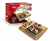 Artestia Cooking Stones for Steak ,Steak Stones Sizzling Hot Stone Set, hot Rock Cooking Stone Indoor Grill,Steak Stone Cooking Set/BBQ/Steak Grill(Deluxe Set with Two Stones on One Bamboo Platter)