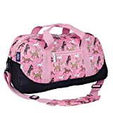 Wildkin Kids Overnighter Duffel Bags for Boys & Girls, Measures 18 x 9 x 9 Inches Duffel Bag for Kids, Carry-On Size & Ideal for School Practice or Overnight Travel, BPA-free (Horses in Pink)
