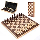 Magnetic Chess Sets Board Game with Pieces, 15' by 15' Classic Wooden Folding Portable Professional Chess for Adults Kids Beginner Tournament Traveling with Foam Storage Slots and 2 Extra Queens