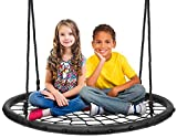 Sorbus Spinner Swing – Kids Round Web Swing – Great for Tree, Swing Set, Backyard, Playground, Playroom – Accessories Included (40' Net Seat)