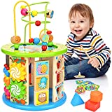 Victostar Activity Cube, 10 in 1 Bead Maze Multipurpose Educational Toy Wood Shape Color Sorter for Boys Girls