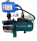 Shallow Well Jet and Booster Pump with Smart Controller Home Pressure 1 HP 110 V G&W Tankless No Need for Pressure Tank