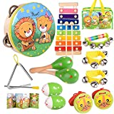 oathx Baby Musical Toys for Toddlers 1-3 Kids'Drum Percussion Instruments Set Wooden Xylophone Maracas Shakers Rattles Learning & Education Toys 6 12 18 7 8 9 10 Months Old