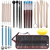 SITAKE Polymer Clay Tools Set, 24 Pcs Ceramic Clay Modeling Sculpting Carving Tools for Rock Painting, Cake Fondant Decoration, Pottery, Ceramics Artwork & Holiday Crafts