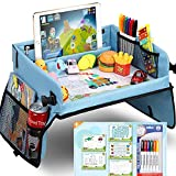 Upgraded Kids Travel Tray with Dry Erase Top Car Seat Travel Tray with 16 Organizer Pockets for Car Stroller Plane With 5 Educational Drawing