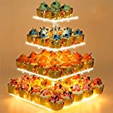 Cupcake Stand - Premium Cupcake Holder - Acrylic Cupcake Tower Display - Cady Bar Party Décor - 4 Tier Acrylic Display for Pastry + LED Light String - Ideal for Weddings, Birthday (Yellow Light)