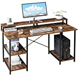 IBUYKE 55' Computer Desk, Office Table, Gaming Workstation with Storage Shelves/Monitor Stand, Study Table for Home Office, Space-Saving, Easy to Assemble, Rustic Brown and Black UTMJ056H
