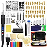 112PCS Wood Burning Kit Professional Wood Burning Tool with LCD Display Pyrography Pen 60W Adjustable Temperature with Conversion Head for Adult & Beginner DIY Embossing Carving Soldering Tips