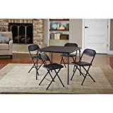 5-Piece Card Table Set, Chair Seats with Comfortable Foam Pad Black