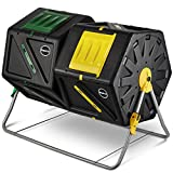 Large Dual Chamber Compost Tumbler – Easy-Turn, Fast-Working System – All-Season, Heavy-Duty, High Volume Composter with 2 Sliding Doors - (2 – 27.7gallon /105 Liter)