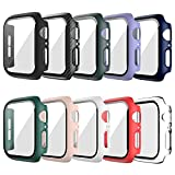10 Pack Hard Case Compatible for Apple Watch Series 6 44mm with Built-in Tempered Glass Screen Protector,JZK Thin Bumper Full Coverage Bubble-Free Cover for iWatch Series SE/6/5/4 44mm Accessories