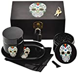 Day of the Dead Bamboo Stash Box - Metal Padlock and Keys, Skull Grinder, Rolling Tray, 2 Bags, Skull Jar - Perfect for Halloween Gifts and Halloween Decor (Sugar Skull)
