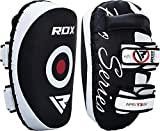 RDX Thai Pads for Kickboxing Muay Thai with Solid Handle Grip, Maya Hide Leather Curved Strike Shield for Boxing MMA Taekwondo Martial Arts, Training Combat Sports Knees Elbows Kicks Punches