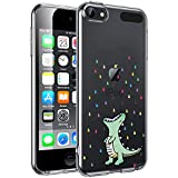 Unov Case for iPod Touch 7 Case iPod Touch 6 Case iPod Touch 5 Case Clear with Design Slim Protective Soft TPU Embossed Pattern for iPod 5th 6th 7th Generation (Rainbow Dinosaur)