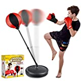 Punching Bag Set for Kids Incl Punching Ball with Stand, Boxing Training Gloves, Hand Pump and Adjustable Height Stand, Boxing Ball Set Toy Gifts for Age 6 7 8 9 10 11 12Year Old Boys Girls