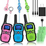 Wishouse Rechargeable Walkie Talkies for Kids with Charger 3X3000mAh Battery, Family 2 Way Radio Adult Cruise Ship, Outdoor Camping Hiking Fun Toys Birthday Xmas Gift for Girl Boy 3 Pack