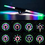 LEADBIKE LED Bike Wheel Lights w/ 30x Different RGBW Patterns| Batteries Included, Ultimate Brightness w/ 64PCS LED Lights| IPX5 Waterproof Safety Tire Lights for Kids & Adults| Cycling Road Safety