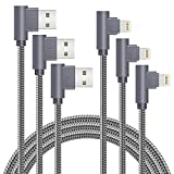 MFi Certified 10FT Lightning Cable iPhone Charger Cord 90 Degree Fast Data Cable Nylon Braided Compatible with iPhone Xs Max/XS/XR/7/7Plus/X/8/8Plus/6S/6S Plus/SE (Gray, 10FT)