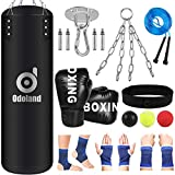 Odoland 10-in-1 Punching Bag Unfilled Set for Youth Kids, Kick Boxing Heavy Bag, 6OZ Boxing Punching Gloves, 3-Balls Reflex Ball Set, Hand Wrist Ankle Sleeves for Karate, Muay Thai, MMA Training