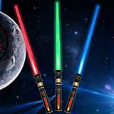 Light Up Saber 3 Colors LED FX Dual Light Swords Set with Sound (Motion Sensitive) and Realistic Handle, Light Sabers for Kids, Halloween Party, Xmas Presents (3 Pack)