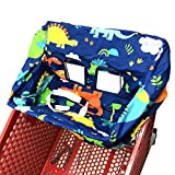 Portable Shopping Cart Cover   High Chair and Grocery Cart Covers for Babies, Kids, Infants & Toddlers ✮ Includes Free Carry Bag ✮ (Simple Dinosaur)