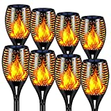 KAGAWA Outdoor Solar Torch Light with Flickering Flame, 12 LED Solar Tiki Torches Landscape Decoration, Solar Pathway Lights for Garden Patio Driveway, 8 Pack of 1
