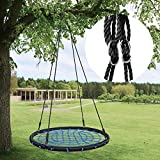 """HYCLAT Saucer Tree Swing - 40""""Spider Web Tree Swing Net Swing Platform Rope Round Swing 70' Detachable Nylon Rope Swivel, Max 600 Lbs Capacity, Extra Safe and Durable for Kids"""