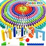 WOOD CITY 1000 Piece Dominoes Set for Kids with Extra 20 Blocks, Colorful Dominos Tiles for Building, Stacking, Racing, Tumbling, Wood Domino with Storage Bag and Box, Educational Toy