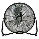 Hurricane Floor Fan - 20 Inch, Pro Series, High Velocity, Heavy Duty Metal Floor Fan for Industrial, Commercial, Residential, and Greenhouse Use - ETL Listed, Black