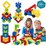 Building Stacking Block Toy, Stack Building Blocks Sensory Toy for Kids STEM Educational Sets Learning & Development Toys Cubes, DIY Build Variations with Funny Puzzle Bricks for Age 3 and Up, 150pcs