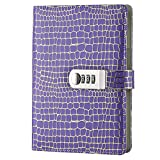 Sealei A5 Locking Journal Diary with Combination Lock Password Lock Journal Notebook (Purple)