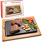 Cooking Stone- Extra Large Lava Hot Stone Tabletop Grill Cooking Platter and Cold Lava Rock Indoor BBQ Hibachi Grilling Stone (12.5' x 7.5') w Bamboo Platter