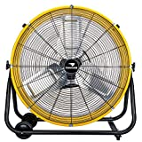 Tornado 24 Inch Grade UL Listed High Velocity Movement Heavy Duty Drum 3 Speed Air Circulator Fan 7800 CFM-Industrial, Commercial, Residential, and Greenhouse Use, Yellow