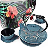 KIYOSHI Luxury 7PC Japanese Tea Set. 'Blue Butterfly' Cast Iron Tea Pot with 2 Tea Cups, 2 Saucers, Loose Leaf Tea Infuser and Teapot Trivet. Ceremonial Matcha Accessories and Iron Anniversary Gifts