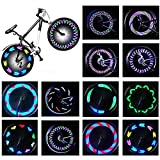 Rottay Bike Wheel Lights, Bicycle Wheel Lights Waterproof RGB Ultra Bright Spoke Lights 14 LED 30pcs Changes Patterns Safety Cool Bike Tire Accessories Kids Adults Visible from All Angle…