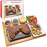 Cooking Stone- Complete Set Lava Hot Steak Stone Plate Tabletop Grill and Cold Lava Rock Indoor BBQ Hibachi Grilling Stone (8 1/8' x 5 3/16') w Ceramic Side Dishes and Bamboo Platter