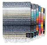 Authentic Mexican Blanket - Picnic Blanket, Handwoven Serape Blanket, Perfect as Beach Blanket, Picnic Blanket, Outdoor Blanket, Yoga Blanket, Camping Blanket, Car Blanket, Woven Blanket (Sand)