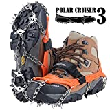 Crampons Upgraded 19 Spikes Ice Snow Grips Traction Cleats System Safe Protect for Walking, Jogging, or Hiking on Snow and Ice (Fit S/M/L/XL/XXL Shoes/Boots)