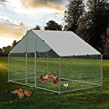 Large Chicken Coop Walk-in Metal Poultry Cage House Rabbits Habitat Cage Spire Shaped Coop with Waterproof and Anti-Ultraviolet Cover for Outdoor Backyard Farm Use (6.56' L x 9.8' W x 6.56' H)