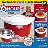 6 Hour Bowl As Seen On TV with Celebrity Chef Nancy Fuller–Stainless Steel Thermal Insulated Bowl Interior Keeps Food Hot or Cold for 6 Hours–Over 2.25 Qrt. Capacity Feeds–Locking Lid