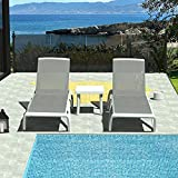 Outdoor Chaise Lounge 3 Pieces Aluminum Patio Lounge Chair with Side Table,All Weather for Beach, Yard, Balcony, Poolside Sunbathing Chair(2 Grey Lounges W/Table)