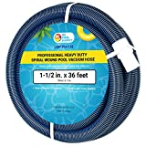 U.S. Pool Supply 1-1/2' x 36 Foot Professional Heavy Duty Spiral Wound Swimming Pool Vacuum Hose with Swivel Cuff
