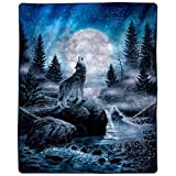"""Lavish Home Heavy Fleece Howling Wolf Pattern-Plush Thick 8 Pound Faux Mink Soft Blanket for Couch Sofa Bed (74"""" x 91, Multicolor"""